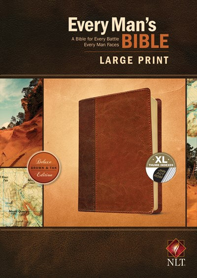 Every Man's Bible NLT, Large Print, TuTone (LeatherLike, Brown/Tan, Indexed)