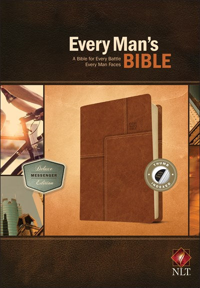 Every Man's Bible NLT, Deluxe Messenger Edition (LeatherLike, Brown, Indexed)
