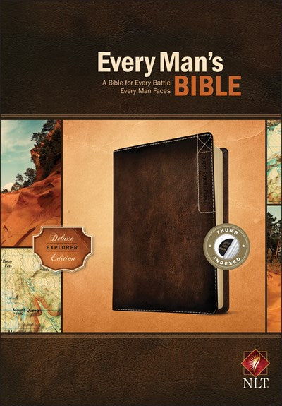 Every Man's Bible NLT, Deluxe Explorer Edition (LeatherLike, Brown, Indexed)