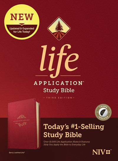 NIV Life Application Study Bible, Third Edition (LeatherLike, Berry, Indexed)