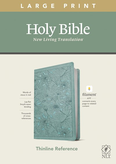NLT Large Print Thinline Reference Bible, Filament Enabled Edition (Red Letter, LeatherLike, Floral Leaf Teal)