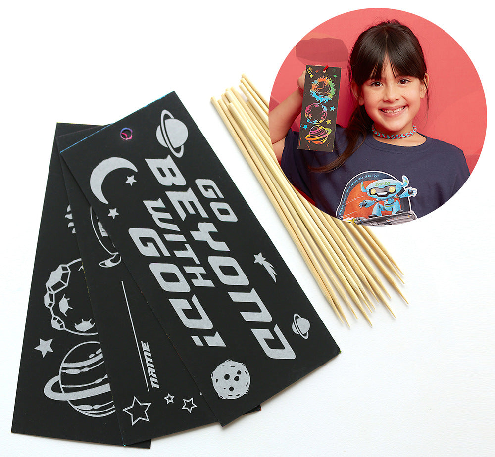 Vacation Bible School (VBS) To Mars and Beyond Scratch Art Bookmark Craft Kit (Pkg of 12)