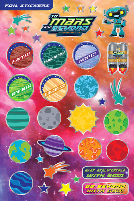 Vacation Bible School (VBS) To Mars and Beyond Foil Stickers (Pkg of 140)