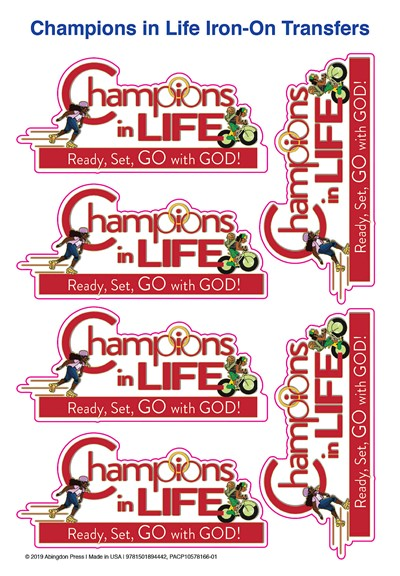 Vacation Bible School (VBS) 2020 Champions in Life Iron-On Transfers (Pkg of 12)