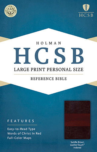 HCSB Large Print Personal Size Bible, Saddle Brown LeatherTouch Indexed