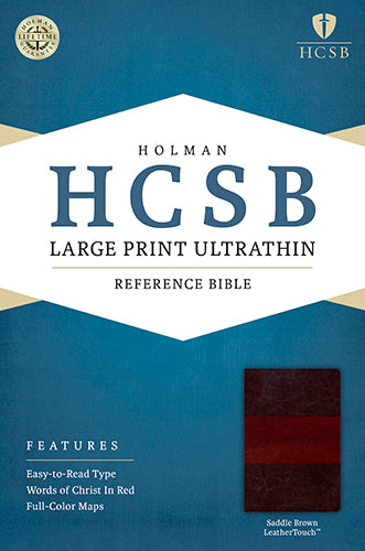 HCSB Large Print Ultrathin Reference Bible, Saddle Brown LeatherTouch