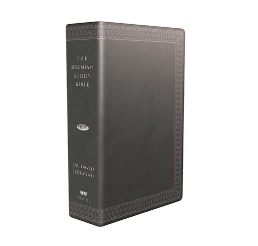 The Jeremiah Study Bible, NKJV: (Charcoal w/ burnished edges) LeatherLuxe® w/thumb index