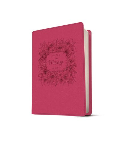 The Message Large Print (Leather-Look, Dusty Rose Floral)