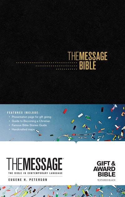 The Message Gift and Award Bible (Softcover, Black)