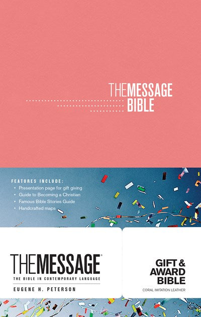 The Message Gift and Award Bible (Softcover, Coral)