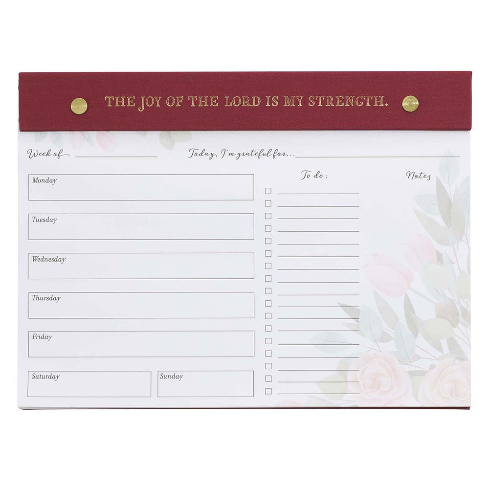 The Joy Of The Lord Is My Strength Undated Planner Pad - Nehemiah 8:10