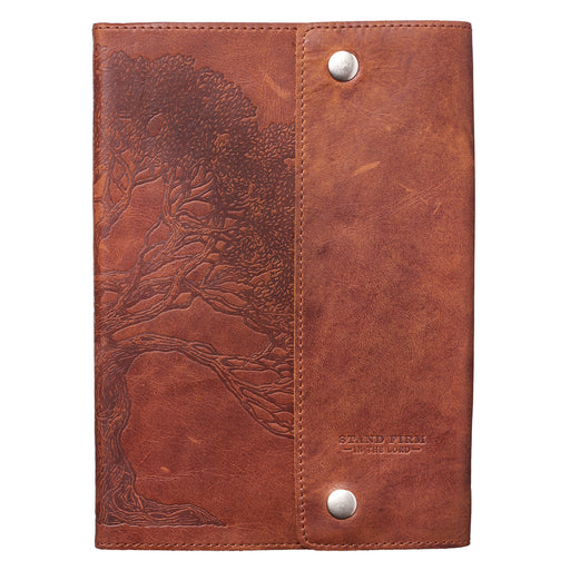 "Stand Firm in the Lord Classic Full Grain Leather Journal with Button Closure "" Philippians 4:1"