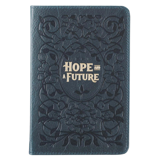 Hope & a Future Blue Handy-sized Full Grain Leather Journal - Jeremiah 29:11
