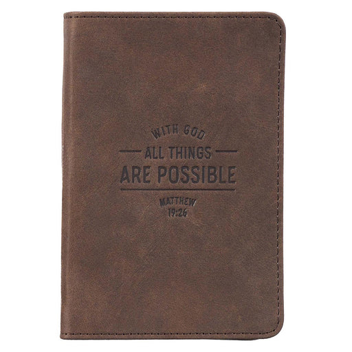 All Things Are Possible Pocket-sized Full Grain Leather Journal - Matthew 19:26