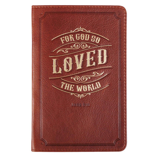 God so Love the World Medium Brown Handy-sized Full Grain Leather Journal - John 3:16