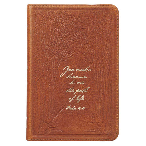 The Path of Life Saddle Tan Handy-sized Full Grain Leather Journal - Psalm 16:11