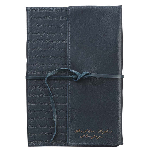 I Know the Plans Navy Full Grain Leather Journal with Wrap Closure - Jeremiah 29:11