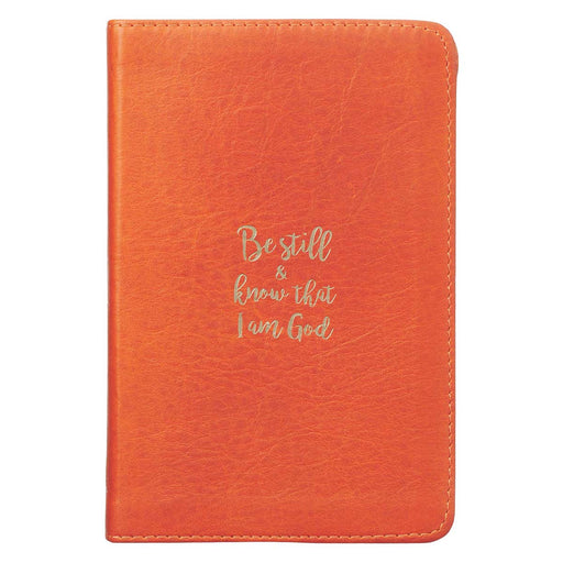 Be Still & Know Burnt Orange Handy-sized Full Grain Leather Journal - Psalm 46:10
