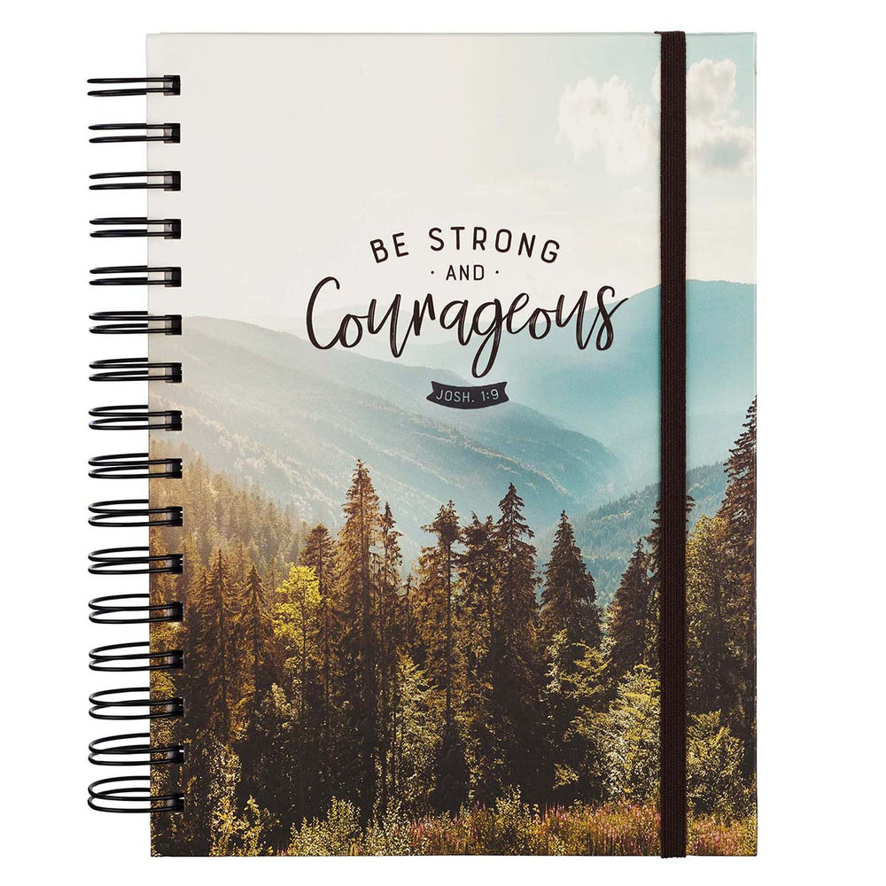 Be Strong and Courageous Large Wirebound Journal with Elastic Closure - Joshua 1:9