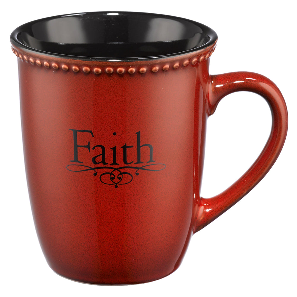 Rustic Paprika Faith Stoneware Coffee Mug -  1 Peter 1:21