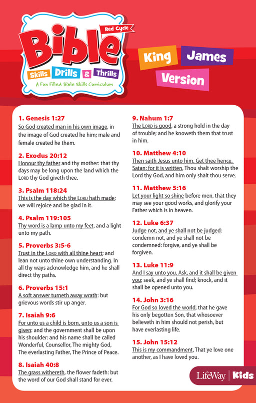 Bible Skills, Drills, & Thrills: Red Cycle - KJV Verse Cards