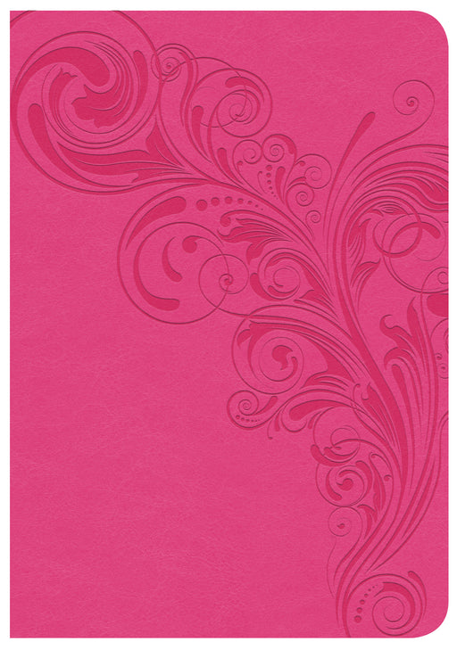 CSB Large Print Compact Reference Bible, Pink LeatherTouch, Indexed