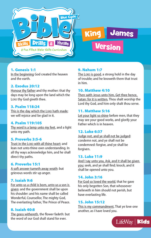 Bible Skills, Drills, & Thrills: Blue Cycle - KJV Verse Cards