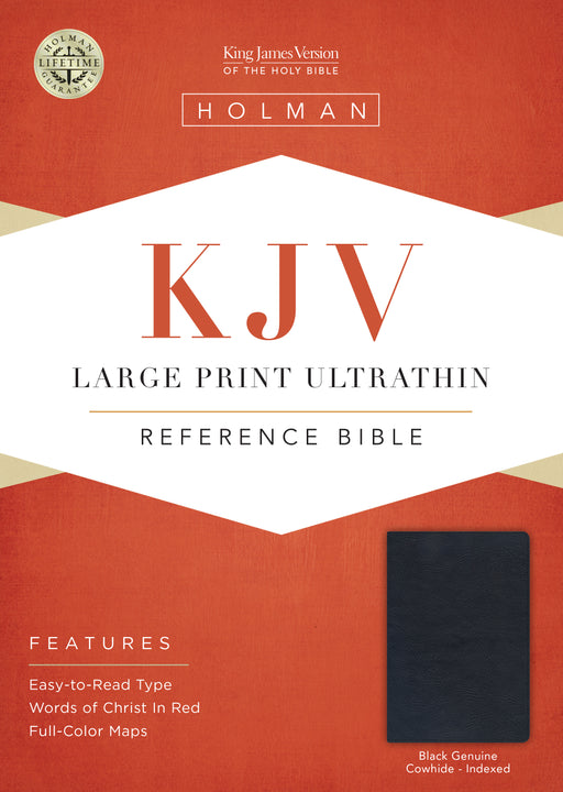 KJV Large Print UltraThin Reference Bible, Black Genuine Leather Indexed