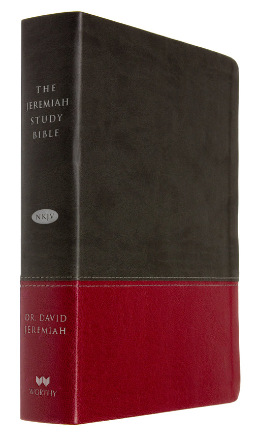 The Jeremiah Study Bible, NKJV: Charcoal/Burgundy LeatherLuxe®