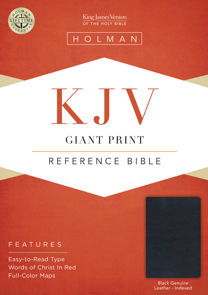 KJV Giant Print Reference Bible, Black Genuine Leather Indexed