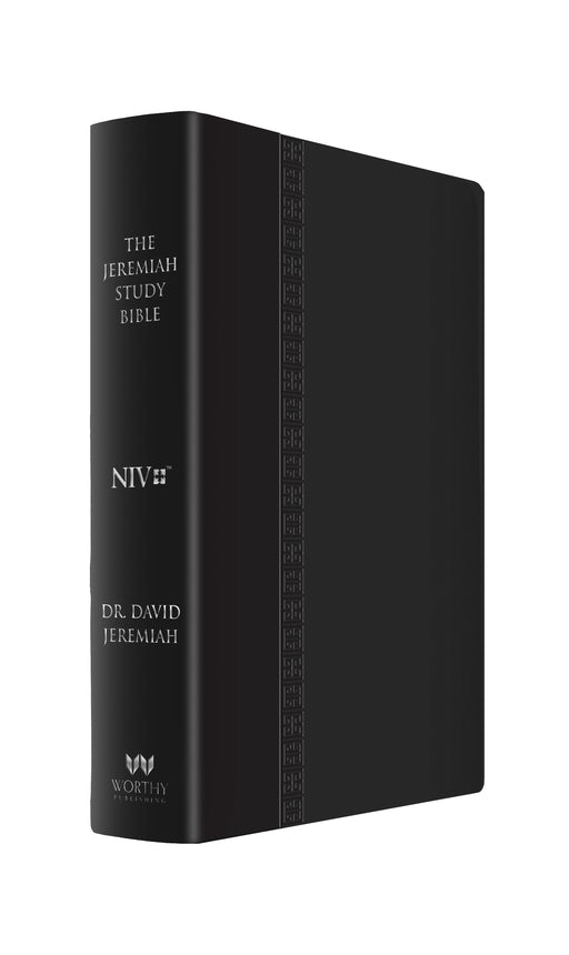 The Jeremiah Study Bible, NIV: (Large Print Edition, Black W/ Burnished Edges) Leatherluxe W/Thumb index