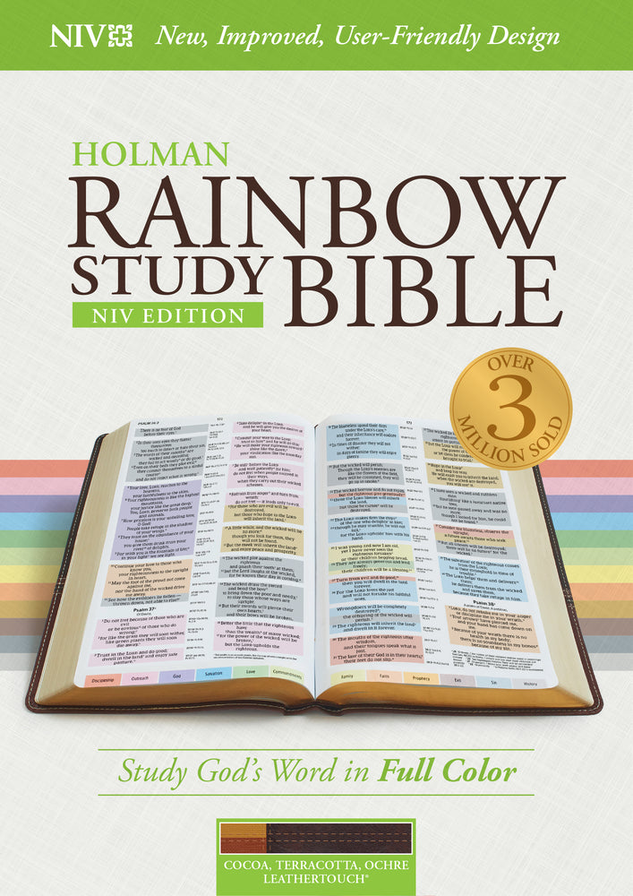 NIV Rainbow Study Bible, Cocoa/Terra Cotta/Ochre LeatherTouch, Indexed
