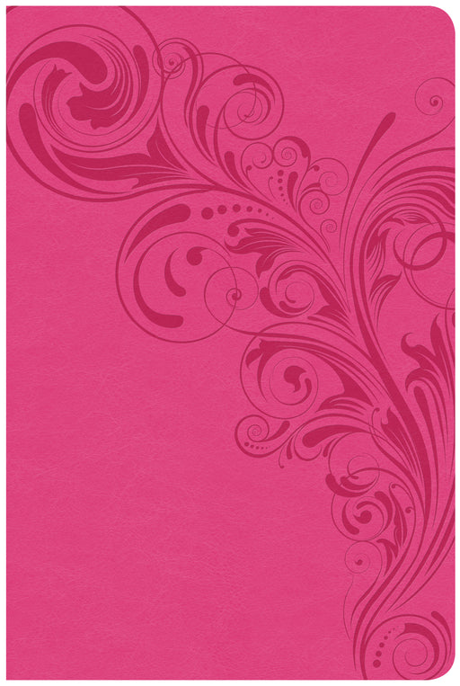 CSB Large Print Personal Size Reference Bible, Pink LeatherTouch