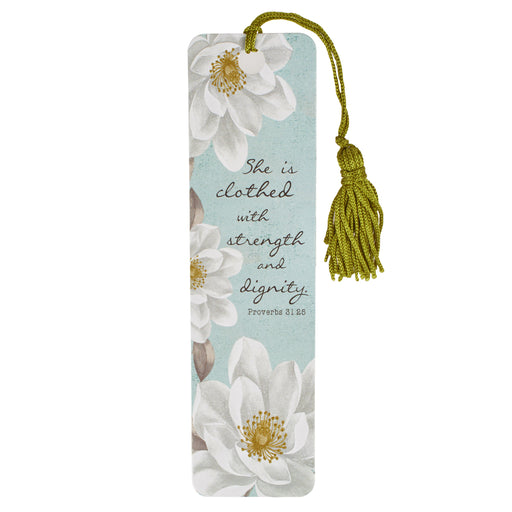 She Is Clothed with Strength and Dignity Bookmark with Tassel - Proverbs 31:25 (Pack of 6)