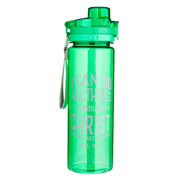 I Can do All Things in green Plastic Water Bottle - Philippians 4:13