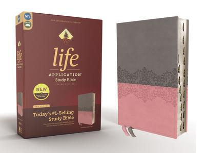 NIV, Life Application Study Bible, Third Edition, Leathersoft, Gray/Pink, Red Letter, Thumb Indexed