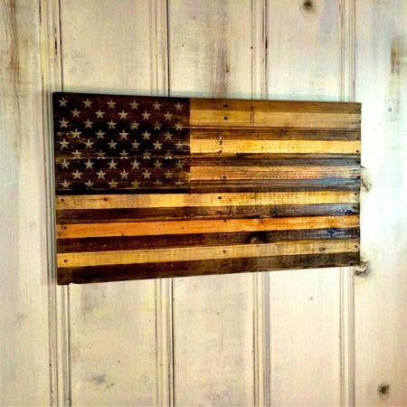 American Flag Two Tone Pallet Wood Wall Art