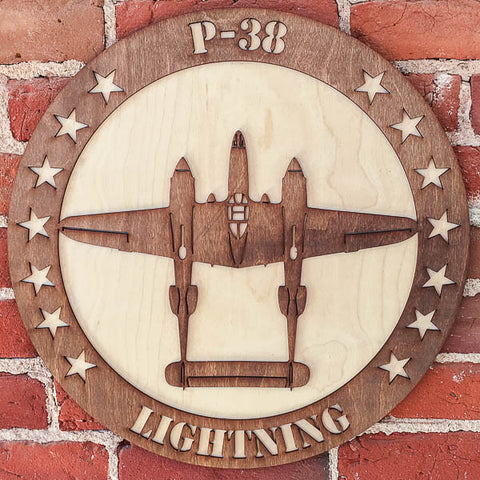 P-38 LIGHTNING TWO-TONE WOOD WALL ART