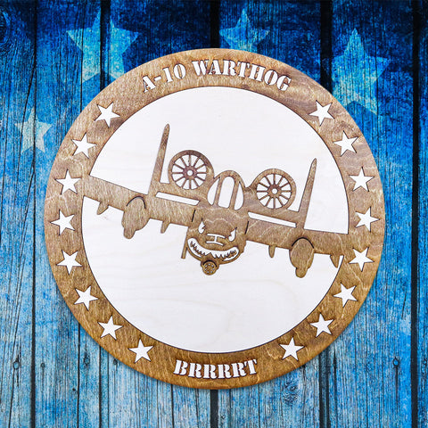 A-10 WARTHOG TWO-TONE WOOD WALL ART