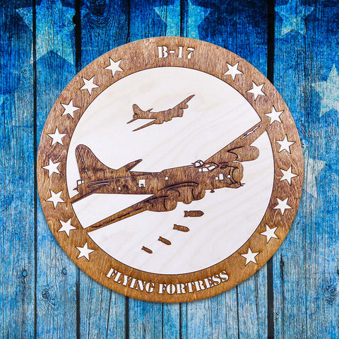 B-17 BOMBER TWO-TONE WOOD WALL ART