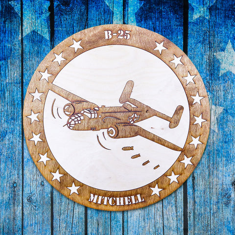 B-25 MITCHELL TWO-TONE WOOD WALL ART