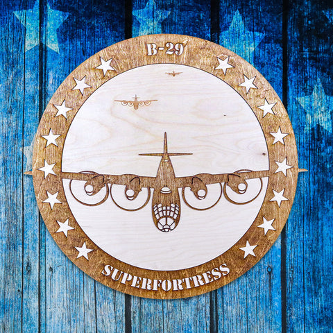 B-29 SUPERFORTRESS TWO-TONE WOOD WALL ART