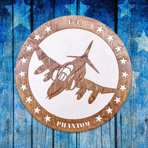 F-4 PHANTOM TWO-TONE WOOD WALL ART
