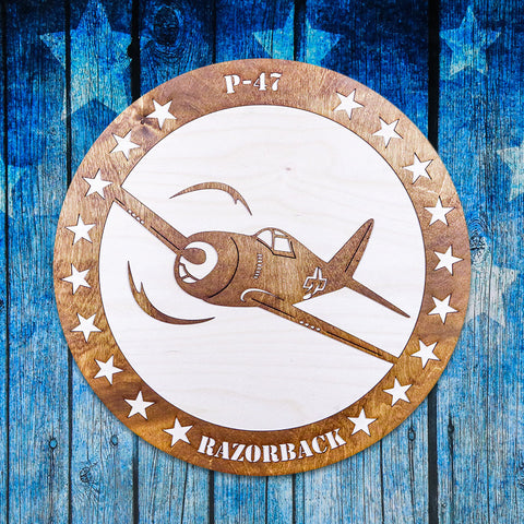P-47 RAZORBACK TWO-TONE WOOD WALL ART