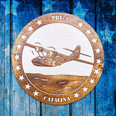 PBY-4 CATALINA TWO-TONE WOOD WALL ART