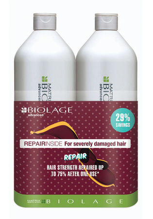 MAXTRIX BIOLAGE <hr> Advanced RepairInside Shampoo & Conditioner Liter Duo
