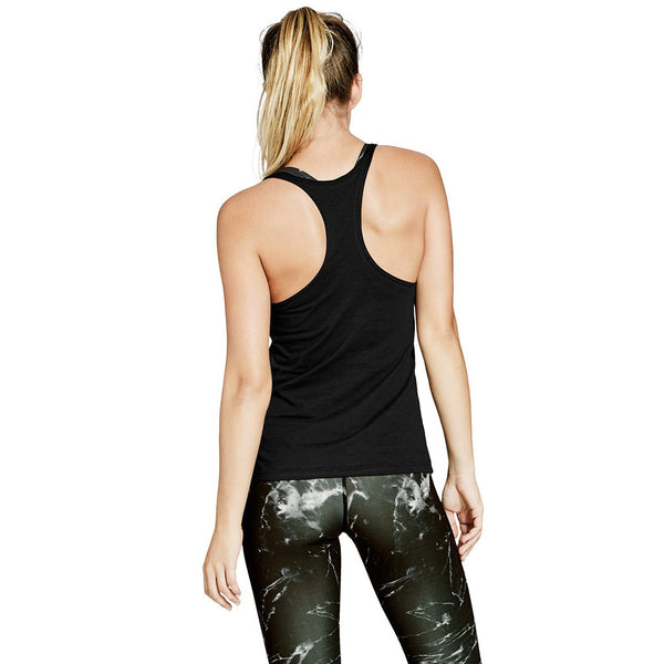 JULIA RACER BACK TANK - BLACK COTTON - Nimble Activewear - Sportluxe