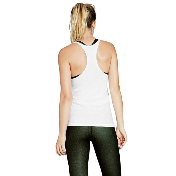 JULIA RACER BACK TANK - WHITE COTTON - Nimble Activewear - Sportluxe
