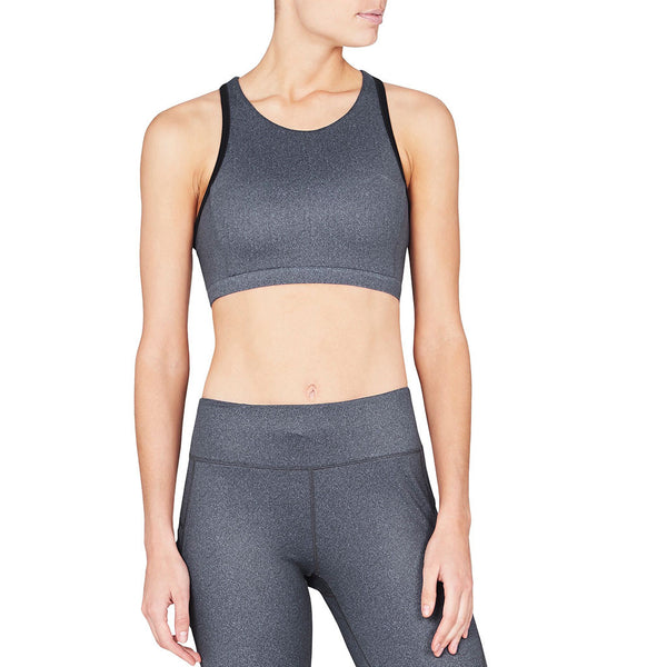 Alyssa Sports Bra Black Herringbone - Vie Active - Sportluxe