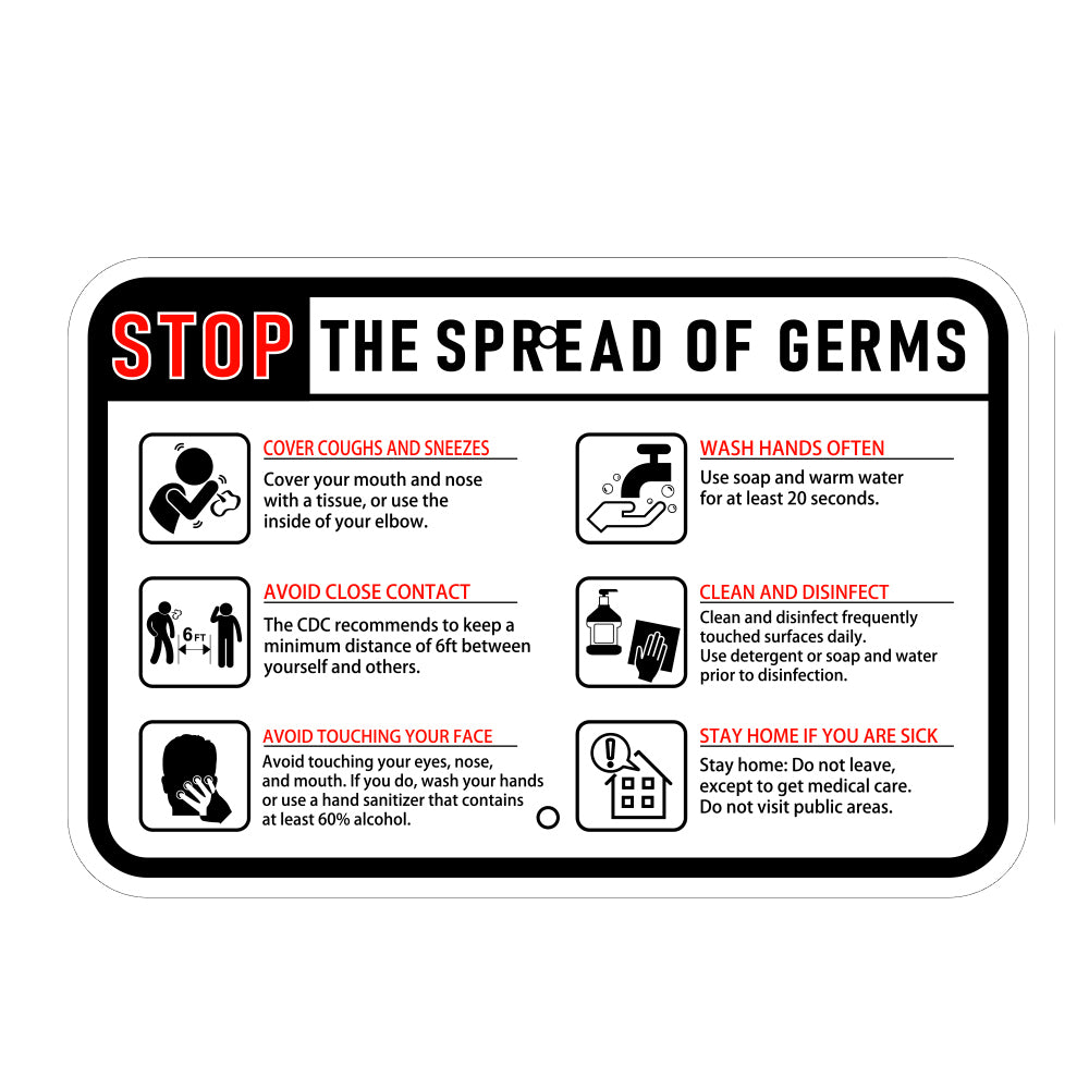 Stop the Spread of Germs Horizontal Sign